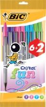 , Balpen Bic Cristal assorti medium Fun pouch à 6+2 gratis