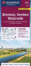 , KOMPASS Fahrradkarte Bremen, Verden, Walsrode 1:70.000, FK 3315