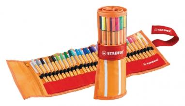 , Fineliner STABILO point 88 rollerset oranje/rood à 30 kleuren