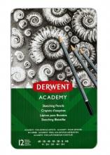 , Potlood Derwent Academy 6B5H assorti hardheden blik à 12 stuks