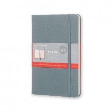 , Moleskine Two-Go Notebook Medium Gelinieerd-Blanco Saxe Blauw