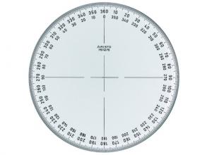 , kompasroos Aristo 360° 12 cm glashelder plexiglas