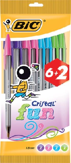 ,Balpen Bic Cristal assorti medium Fun pouch à 6+2 gratis