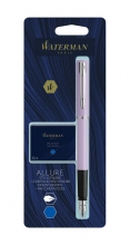 , Vulpen Waterman Allure pastel paars F blauw + inktpatronen Blauw