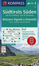 , KOMPASS Wanderkarte Südtirols Süden, Bolzano Vigneti e Dolomiti, Val di Cembra, Val di Fiemme 1:50 000