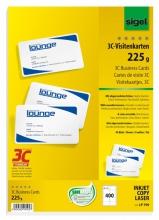 , visitekaartjes 3C 225g wit 400 stuks met afgeronde hoeken