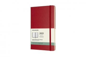 , Moleskine 12 MND Agenda - 2021 - Wekelijks - Large (13x21 cm) - Scarlet Rood - Harde Kaft
