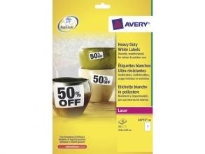 , weerbestendig etiket Avery 210x297mm 20 vel 1 etiketten per vel
