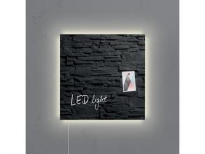 , glasmagneetbord Sigel Artverum LED light 480x480x15 leisteen