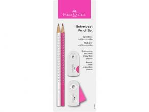 , Schrijfset met gum, slijper en 2 potloden