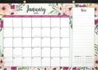 , Maand notitie deskpad kalender 2021 floral 43x28