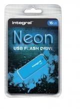 , USB-stick 2.0 Integral 16GB neon blauw