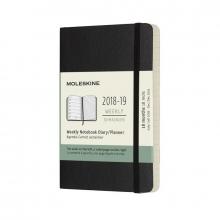 Moleskine Wochen Notizkalender, 18 Monate, 2018/2019, Pocket/A6, Soft Cover, Schwarz