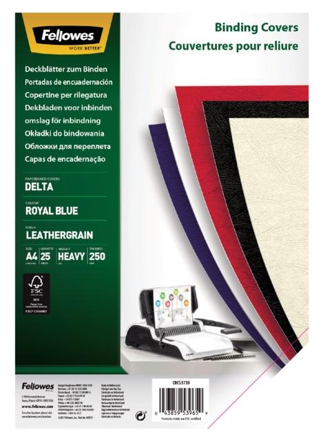 ,Voorblad Fellowes A4 lederlook royal blauw 25stuks