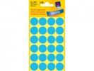 ,Etiket Avery Zweckform 3005 rond 18mm blauw 96stuks
