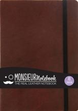Hide Stationery Ltd Monsieur Notebook Leather Journal - Brown Fountain Medium