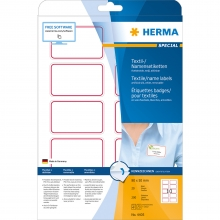 , Naambadge etiket Herma 4405 80X50mm wit rood