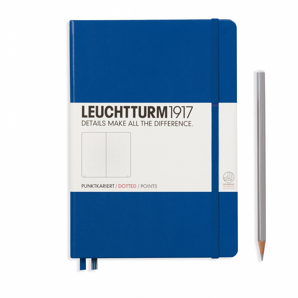 Lt344747,Leuchtturm notitieboek medium 145x210 dots / bullets koningsblauw