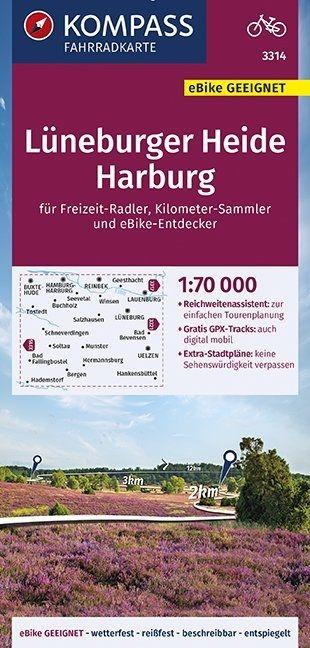,KOMPASS Fahrradkarte Lüneburger Heide, Harburg 1:70.000, FK 3314