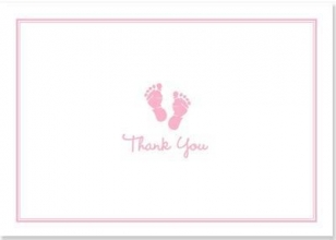 Baby Steps Thank You Notes Pink