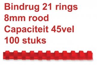 , Bindrug Fellowes 8mm 21rings A4 rood 100stuks