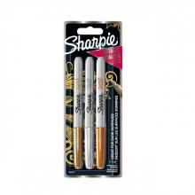 , Viltstift Sharpie rond 0.9mm metallic assorti blister à 3 stuks