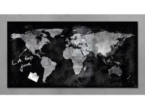 , glasmagneetbord Sigel Artverum 910x460x15mm wereldkaart