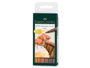 Fc-167106 , Faber-castell 6 pitt artist stiften terra kleuren