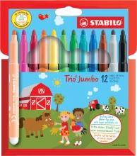 , Viltstift STABILO Trio Jumbo XXL etui à 12 kleuren