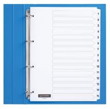 , Tabbladen Quantore 4-gaats 1-15 genummerd wit karton