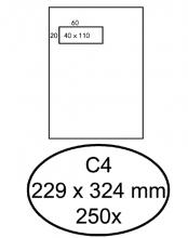 , Envelop Hermes akte C4 229x324mm venster 4x11 links zelfk