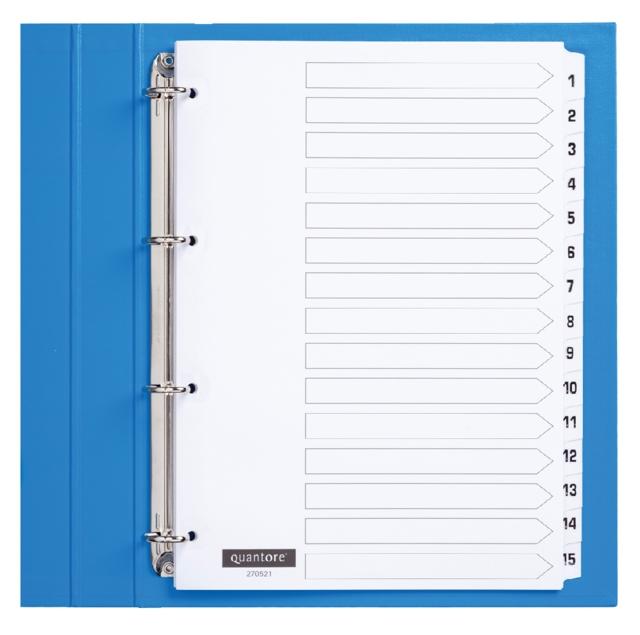 ,Tabbladen Quantore 4-gaats 1-15 genummerd wit karton