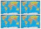 ,SET: Wereldkaart kinderen politiek geïllustreerd per 4 stuks