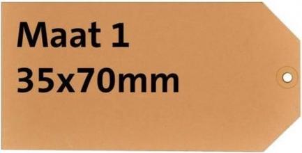 , Label karton nr1 200gr 35x70mm chamois 1000stuks