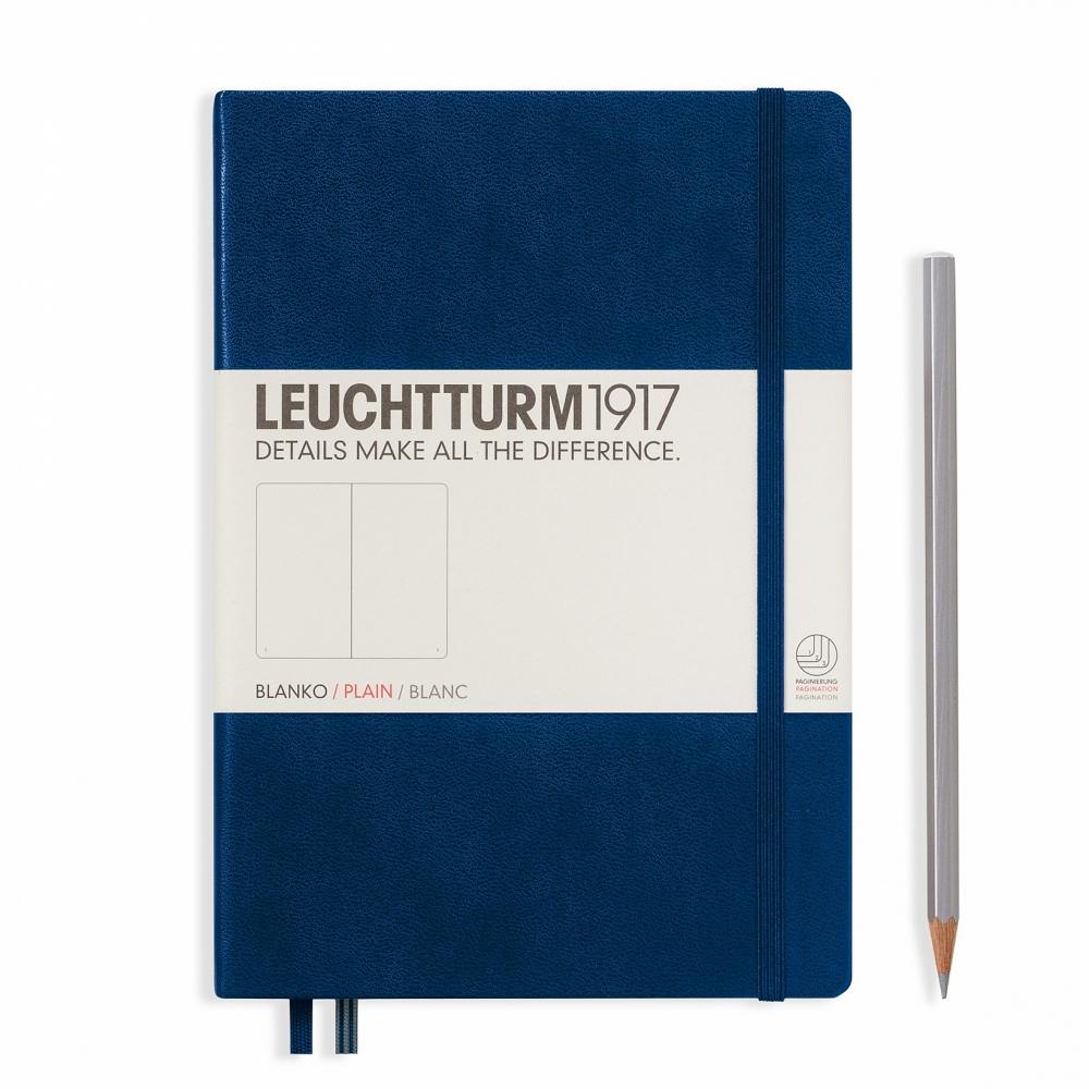 Lt342924,Leuchtturm notitieboek medium 145x210 blanco marineblauw