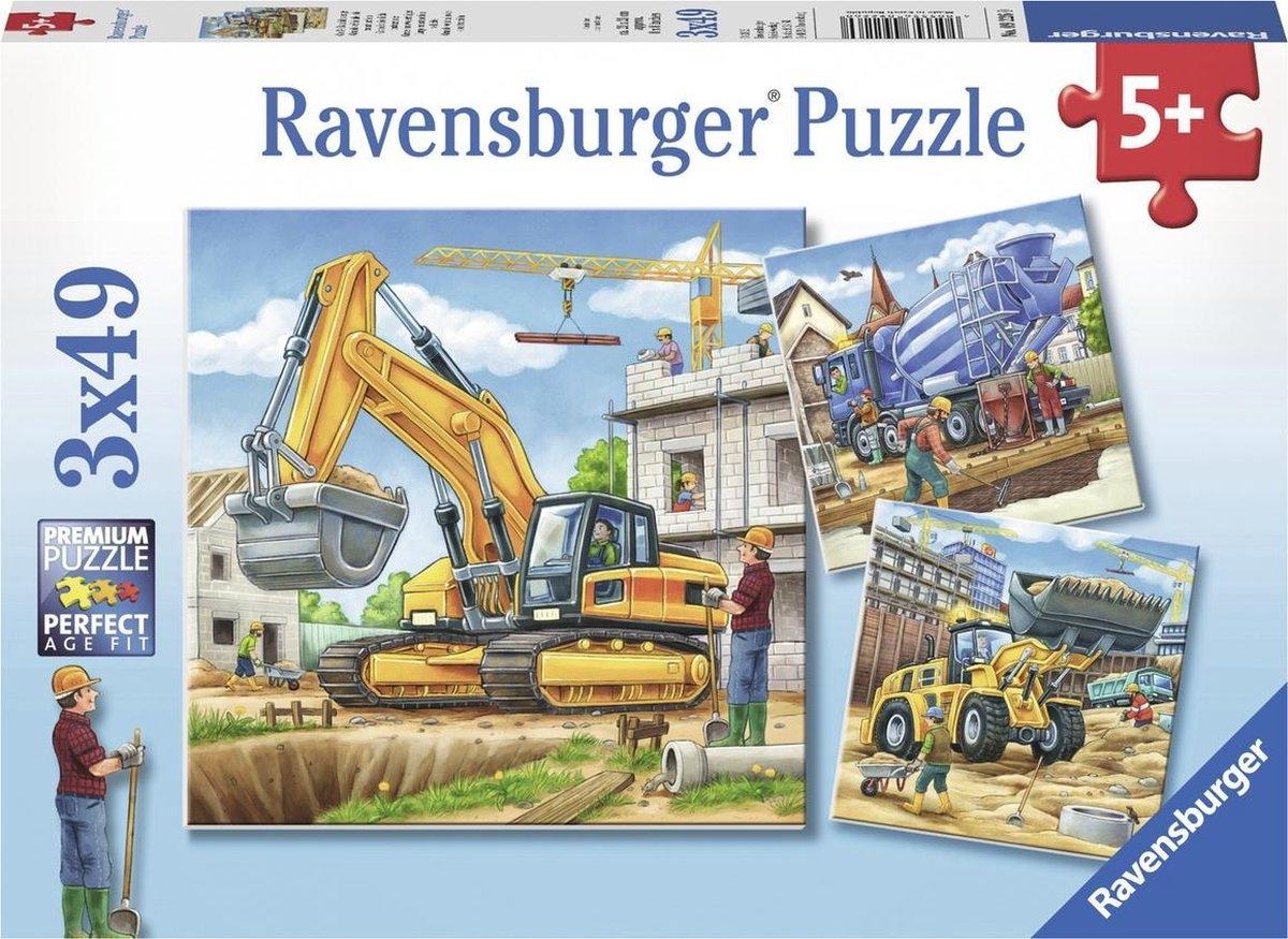 Rav-092260,Puzzel grote bouwvoertuigen  3x49 stuks