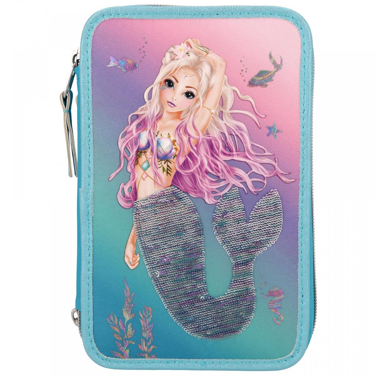 ,Fantasy model 3-vaks etui gevuld met wrijfpailletten mermaid