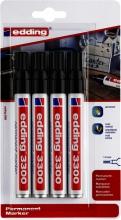 , Viltstift edding 3300 schuin 1-5mm blister à 4 stuks zwart