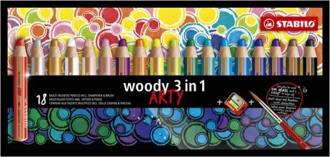 , Kleurpotloden STABILO Woody 880/18-1-20 etui à 18 kleuren met puntenslijper en penseel