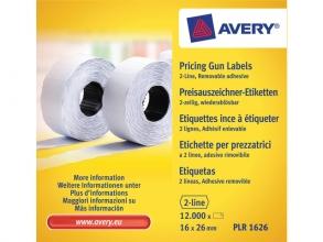 , prijstangetiketten Avery non-permanent 26x16mm wit 10 rol   in doos