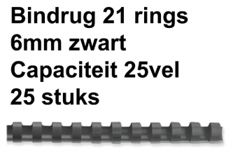 , Bindrug GBC 6mm 21rings A4 zwart 25stuks