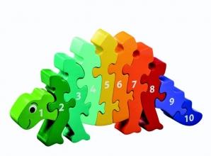 , Houten puzzel Dinosaurus - Leren tellen 1-10