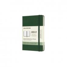 , Moleskine 18 MND Agenda - 2020/21 - Wekelijks - Pocket (9x14 cm) - Myrtle Green - Harde Kaft