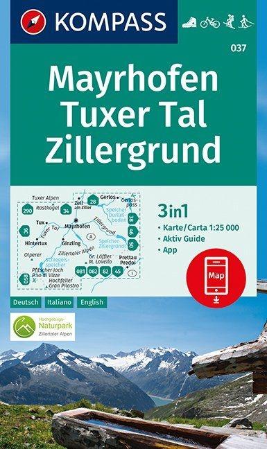 ,Mayrhofen, Tuxer Tal, Zillergrund 1:25 000