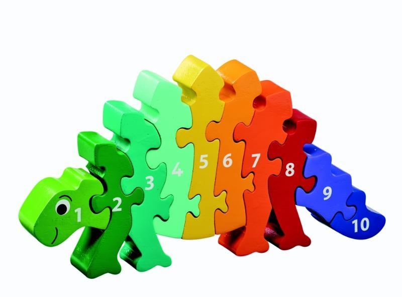 ,Houten puzzel Dinosaurus - Leren tellen 1-10