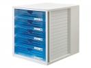 ,ladenkast HAN met 5 gesloten laden grijs / blauw transparant