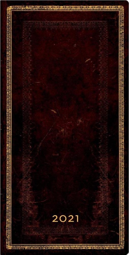 De68167,Paperblanks weekagenda  2021 slimline 9x17 black moroccan