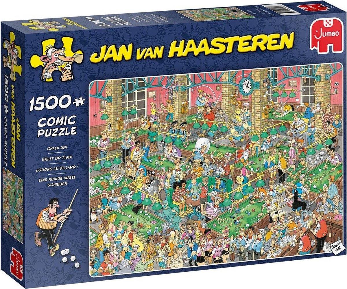 Jum-20026,Puzzel- krijt op tijd! jan van haasteren - jumbo- 1500 stuk 90x60 cm