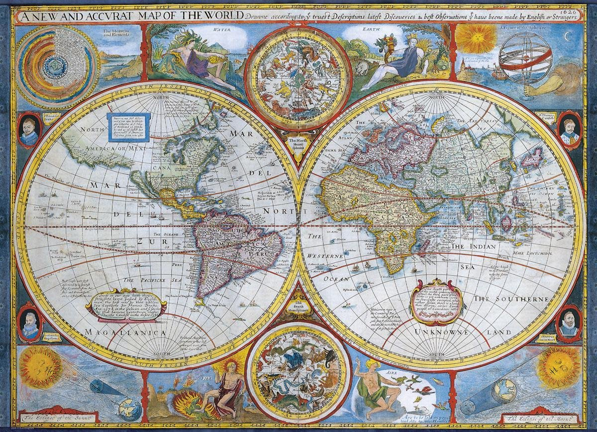 Eur-6000-1271,Puzzel anbtique world map eurographics 1000 stuks