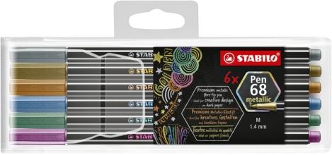 , Viltstift STABILO 6806/8-11-01 metallic etui à 6 kleuren